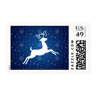 Sello azul del navidad del reno