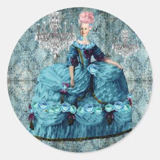 Sello azul del pegatina de Bella Marie Antonieta