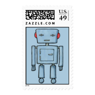 Sello azul del robot del juguete