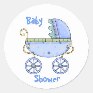 Sello azul del sobre de la ducha del bebé del pegatina redonda