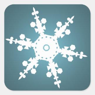 sello azul del sobre del copo de nieve pegatina cuadrada