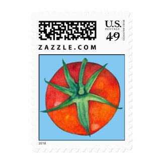Sello azul del tomate rojo
