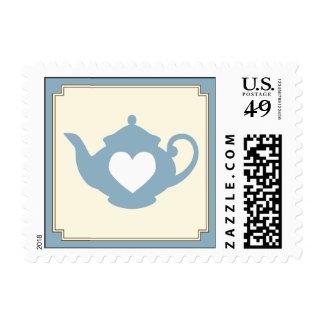 Sello azul dulce de la fiesta del té de la tetera
