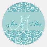 Sello azul elegante del boda del damasco del monog etiqueta redonda