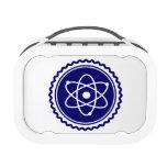 Sello azul esencial del modelo atómico