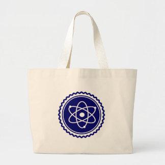Sello azul esencial del modelo atómico bolsas de mano
