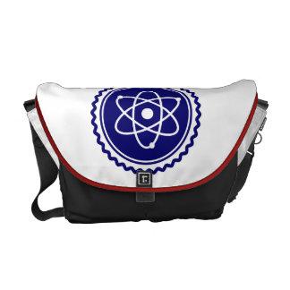 Sello azul esencial del modelo atómico bolsa de mensajeria