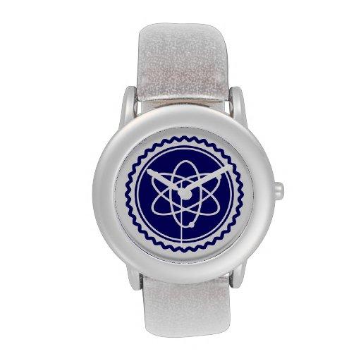 Sello azul esencial del modelo atómico reloj de mano