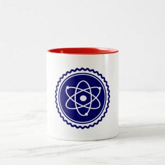 Sello azul esencial del modelo atómico taza de dos tonos
