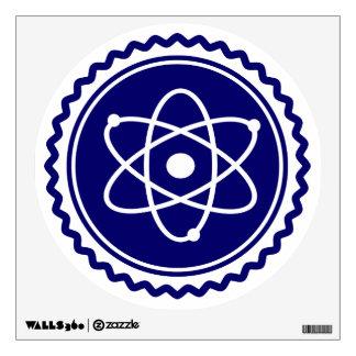 Sello azul esencial del modelo atómico vinilo
