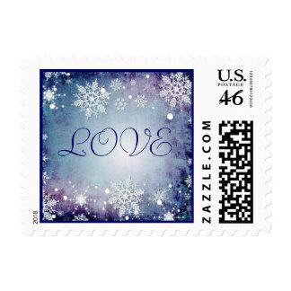 Sello azul hivernal del amor