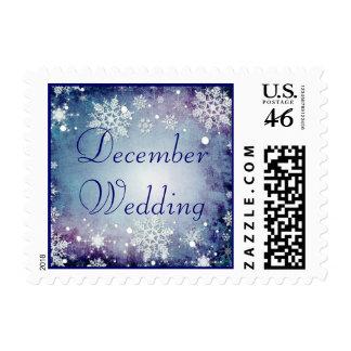 Sello azul hivernal del boda de diciembre