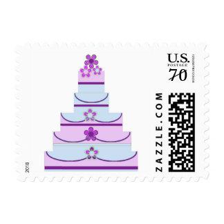 Sello azul púrpura del pastel de bodas de 59 centa