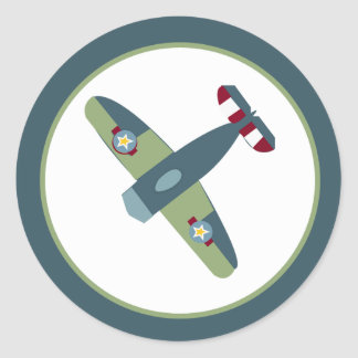 Sello azul/verde del aeroplano del vintage del pegatina redonda