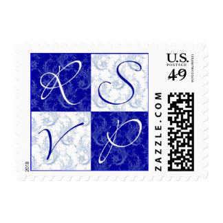 Sello azul y blanco de la postal de RSVP