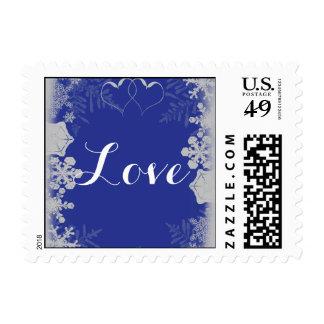 Sello azul y de plata del boda del copo de nieve