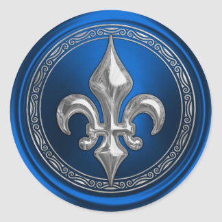 Sello azul y de plata del sobre de la flor de lis pegatina redonda