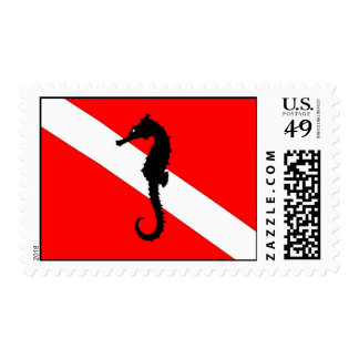 sello - bandera de la zambullida del sseahorse