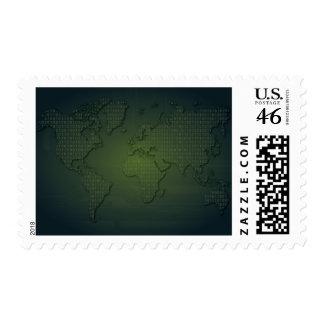 Sello binario del mapa del mundo del mundo