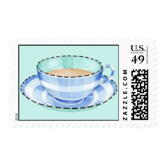 Sello blanco azul del verde de la taza de té
