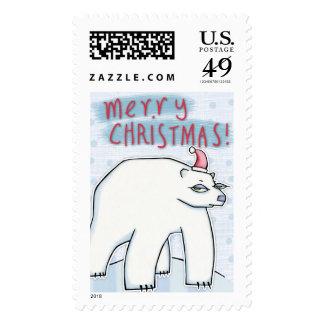 Sello blanco del navidad del oso polar