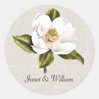 Sello blanco elegante del sobre del boda de la pegatina redonda