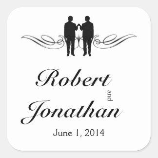 Sello blanco negro del sobre del boda del novio de pegatina cuadrada