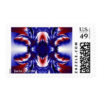 Sello blanco y azul rojo del fractal