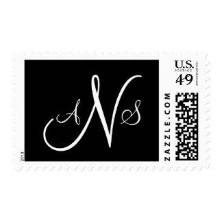 Sello blanco y negro del monograma de tres letras
