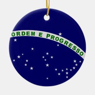 Sello brasileño adorno navideño redondo de cerámica