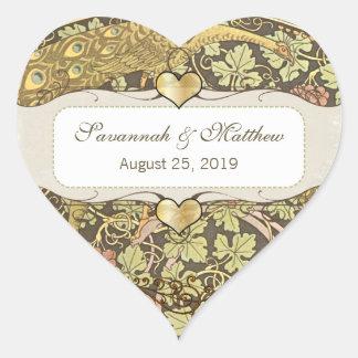 Sello brillante del boda del corazón de la cal de pegatina en forma de corazón