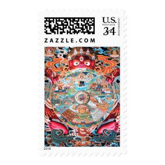 Sello budista tibetano del arte (rueda de la vida)