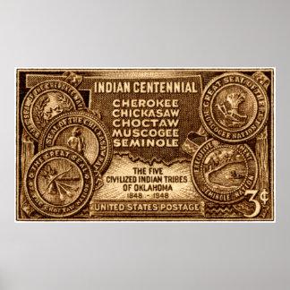 Sello centenario indio 1948 de Oklahoma Póster