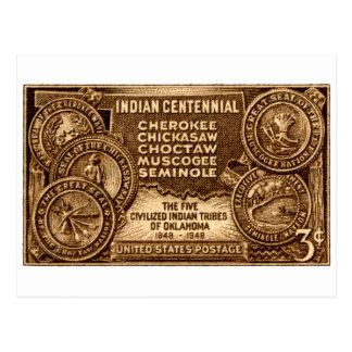 Sello centenario indio 1948 de Oklahoma Tarjetas Postales