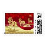 Sello chino de los caballos del Año Nuevo