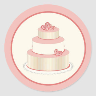 Sello color de rosa/de la nata del pastel de bodas pegatina redonda