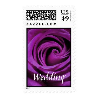 Sello color de rosa púrpura del boda