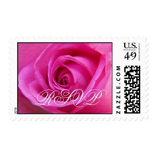 Sello color de rosa rosado brillante de RSVP