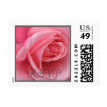 Sello color de rosa rosado de RSVP (sello tamaño p