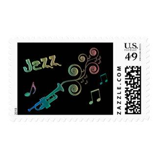 Sello colorido de la trompeta del jazz
