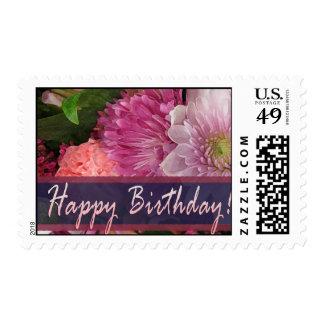 Sello colorido del feliz cumpleaños de la flor