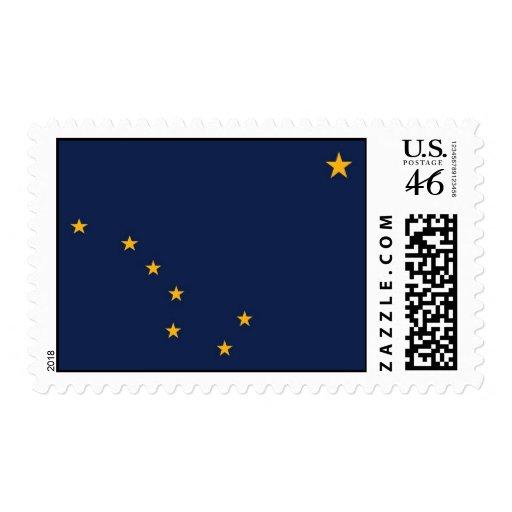 Sello con la bandera de Alaska, los E.E.U.U.