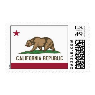 Sello con la bandera de California, los E.E.U.U.