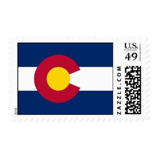 Sello con la bandera de Colorado, los E.E.U.U.