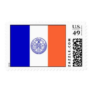 Sello con la bandera de Nueva York, los E.E.U.U.