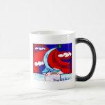 sello con la bola, diseñada por el cuervo taza de café