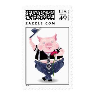 Sello con la imagen divertida del cerdo