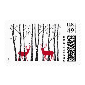 Sello con los ciervos del navidad y los árboles de