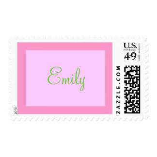 sello conocido rosado y verde