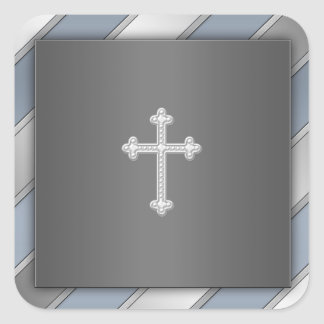 Sello cristiano del sobre de la cruz de plata azul pegatina cuadrada
